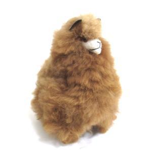 【ALPACA BROWN 28cm】アルパカ ぬいぐるみ置き物 アルパカ毛 100% ブラウン1個 約28cm ペルー製の民芸品おみやげ|vivas