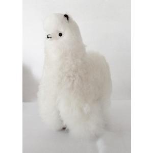 【ALPACA WHITE 26cm】アルパカ ぬいぐるみ置き物 アルパカ毛 100% ホワイト1個 約26cm ペルー製の民芸品おみやげ|vivas