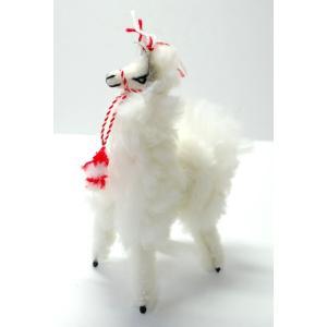 【ALPACA 18cm】ふわふわアルパカのぬいぐるみ置物 約18cmナチュラル色 1個 ペルー製のアルパカ人形|vivas