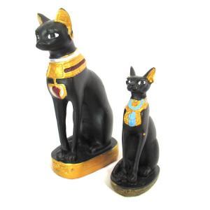 【古代エジプトのバステト神 2点セット】【S・Mサイズ】猫型の女神 立像 バステト神 猫神 彫像・彫刻|vivas