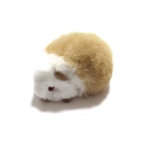 【ほったらかしペット】(マルチカラー・白と茶色)クイちゃんの形した ふわふわ ぬいぐるみ アルパカ毛 100% 1個 ペルー製の民芸品|vivas