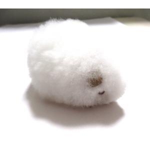 【ほったらかしペット】クイ(白・ホワイト)の形した ふわふわ ぬいぐるみ アルパカ毛 100% 1個 ペルー製の民芸品|vivas