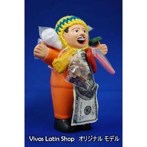 【エケコ人形15cm】【ORANGE】当店VIVAS限定モデルのエケコ人形 オレンジ色 ペルー直輸入|vivas