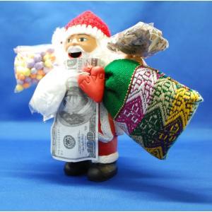 【エケコ人形15cm】当店限定クリスマスのエケコ人形/エケコ サンタクロース/クリスマス エケコ/ポンチョ型ボディー【Santa Claus】ペルー直輸入|vivas