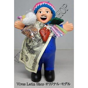★EKEKO 19cm BLUE★当店限定色 ブルー(青色)L サイズ・大きいサイズ のエケコ人形 19cm ペルー製(ペルー直輸入)|vivas