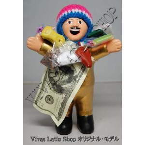 ★EKEKO 19cm GOLD★当店限定色 ゴールド(金色)L サイズ・大きいサイズ のエケコ人形 19cm ペルー製(ペルー直輸入)|vivas