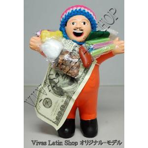 ★EKEKO 19cm ORANGE★当店限定色 オレンジ色(橙色)L サイズ・大きいサイズ のエケコ人形 19cm ペルー製(ペルー直輸入)|vivas