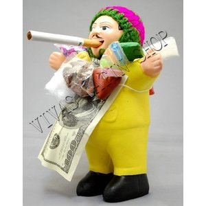 ★EKEKO 19cm YELLOW★L サイズ・大きいサイズ のエケコ人形 19cm 金運を表す色・黄色・イエロー ペルー製(ペルー直輸入)|vivas