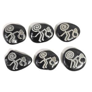 【ペルーのナスカ石1個・ブラック】【猿の絵】アソート ナスカの地上絵を刻んだ石の置物 vivas