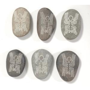 【ペルーのナスカ石1個・ナチュラル】【蜘蛛・スパイダーの絵】アソート ナスカの地上絵を刻んだ石の置物 vivas