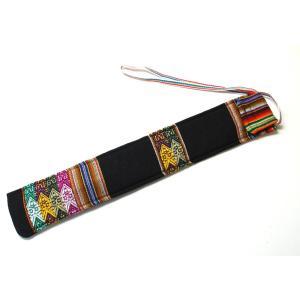 【QUENA SOFT CASE BLACK】民族楽器ケーナ用の布ケース 掛け紐付き G管用(アンデス織物アワイヨ) 黒 (ブラック)★ペルー製 vivas