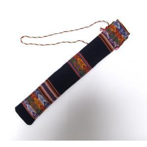 【QUENA SOFT CASE BLUE】民族楽器ケーナ用の布ケース G管用(アンデス織物アワイヨ)濃紺(ネイビーブルー)★ペルー製 vivas