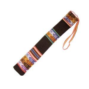 【QUENA SOFT CASE BROWN】民族楽器ケーナ用の布ケース G管用(アンデス織物アワイヨ)茶色(ブラウン)★ペルー製 vivas