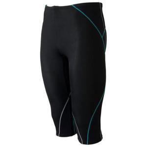 BGアクア スパッツ(6分丈) (93ブラック×エメラルドグリーン)  MIZUNO ミズノ スイム フィットネス水着 メンズ (N2JB4650)|vivasports