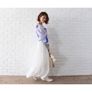 ロングプリーツスカート ロングスカート ホワイト イエロー グリーン ブラウン ピンク PICHI ピイチ|vivi-shop