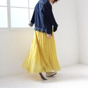 ロングプリーツスカート ロングスカート ホワイト イエロー グリーン ブラウン ピンク PICHI ピイチ vivi-shop 02