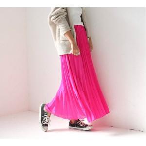 ロングプリーツスカート ロングスカート ホワイト イエロー グリーン ブラウン ピンク PICHI ピイチ vivi-shop 05