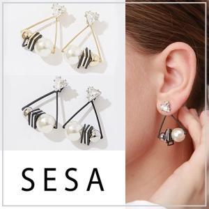 SESA セサ トライアングルパールピアス|vivi-shop