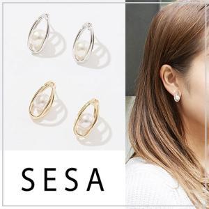 SESA セサ コクーンボールパールピアス|vivi-shop