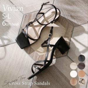 サンダル レディース チャンキーヒール スクエアトゥ 6cm ヒール アンクルストラップ 歩きやすい ブラック 黒 ベージュ キャメル|vivian-collection