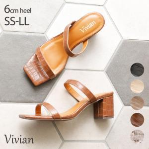 サンダル レディース ミュール チャンキーヒール スクエアトゥ 6cm つっかけ ブラック ベージュ グレージュ キャメル 痛くない 歩きやすい|vivian-collection