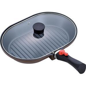 和平フレイズ フライパン グリルパン 魚焼き ステーキ マローネシェフ オーバル型 22×32cm IH対応 着脱ハンドル 蓋付 ダイヤモンドコート|vivian4988
