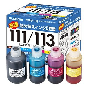 エレコム 詰め替え インク brother ブラザー LC111LC113対応 4色パック(4回分) リセッター付属 THB-111113KIT 【お vivian4988