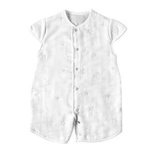 [10mois(ディモワ)] ふくふくガーゼ(6重ガーゼ) 2wayベビースリーパー 袖付き コットン100% ホワイト 着丈58cm 新生児~3歳頃 vivian4988