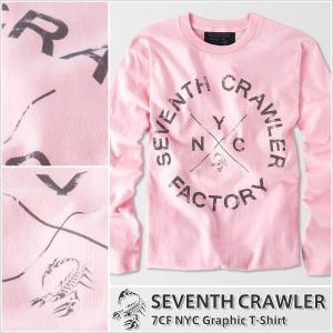 長袖Tシャツ メンズ ロンT ロングTシャツ アメカジ ブランド セブンスクローラー 正規品 ライトピンク|vividstyle