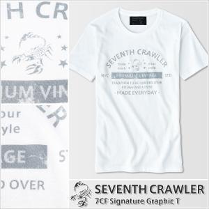 アメカジ/セブンスクローラー/メンズ Tシャツ 半袖/正規品 ホワイト|vividstyle