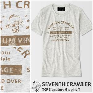 アメカジ/セブンスクローラー/メンズ Tシャツ 半袖/正規品 ベージュ|vividstyle