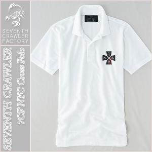 アメカジ/セブンスクローラー/メンズ ポロシャツ 半袖/正規品 ホワイト vividstyle