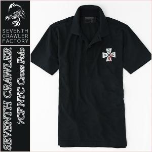 アメカジ/セブンスクローラー/メンズ ポロシャツ 半袖/正規品 ブラック vividstyle