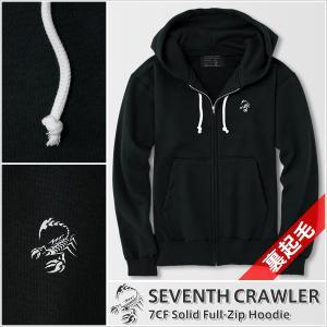 パーカー メンズ ジップアップ 長袖 裏起毛 アメカジ ブランド セブンスクローラー 正規品 ブラック|vividstyle
