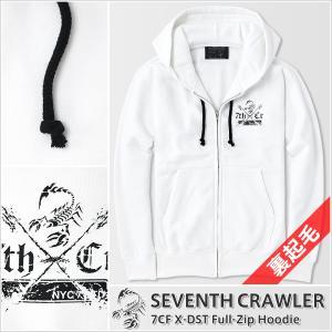 パーカー メンズ ジップアップ 長袖 裏起毛 アメカジ ブランド セブンスクローラー 正規品 ホワイト|vividstyle