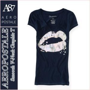 エアロポステール/レディース Tシャツ 半袖/Vネック 正規品 ネイビー|vividstyle