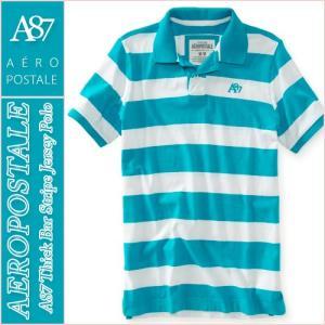 エアロポステール/メンズ ポロシャツ 半袖/ボーダー 正規品 ブルー vividstyle