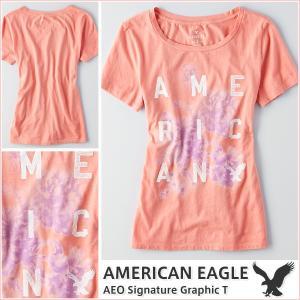 アメリカンイーグル/レディース Tシャツ 半袖/正規品 オレンジ|vividstyle