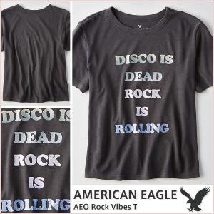 アメリカンイーグル/レディース Tシャツ 半袖/正規品 ブラック|vividstyle