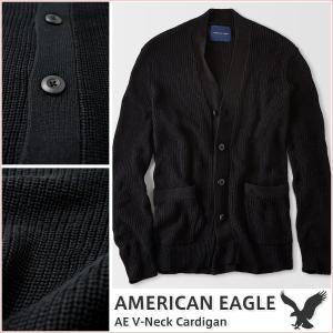 アメリカンイーグル/メンズ カーディガン 長袖/Vネック ニット 正規品 ブラック|vividstyle