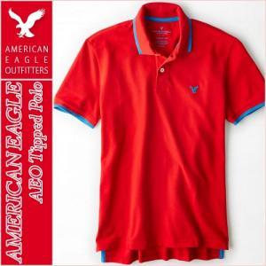 アメリカンイーグル/メンズ ポロシャツ 半袖/正規品 レッド vividstyle