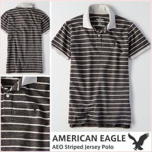 アメリカンイーグル/メンズ ポロシャツ 半袖/ボーダー ストライプ 正規品 ブラック vividstyle