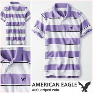 アメリカンイーグル/メンズ ポロシャツ 半袖/ボーダー ストライプ 正規品 パープル vividstyle