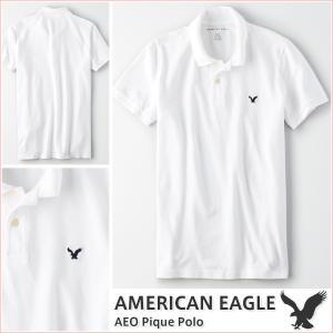 アメリカンイーグル/メンズ ポロシャツ 半袖/正規品 ホワイト vividstyle