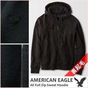 アメリカンイーグル/メンズ パーカー/ジップアップ あったか裏起毛 正規品 ブラック|vividstyle