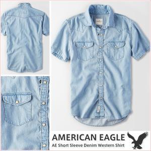 アメリカンイーグル/メンズ 半袖シャツ/デニムシャツ 正規品 ブルー|vividstyle