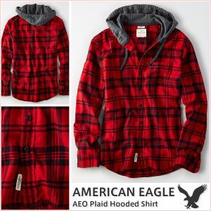 アメリカンイーグル/メンズ 長袖シャツ/フード付き チェック柄 正規品 レッド|vividstyle