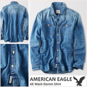 アメリカンイーグル/メンズ 長袖シャツ/デニムシャツ 正規品 ブルー|vividstyle
