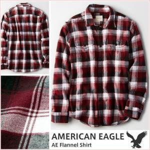 アメリカンイーグル/メンズ 長袖シャツ/ネルシャツ チェック柄 正規品 バーガンディ|vividstyle
