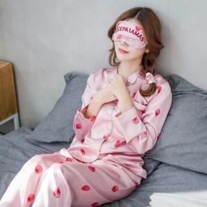 レディース イチゴ柄 ルームウェア パジャマ 冷感シルク風 3色 7点セット春 夏 秋 可愛い
